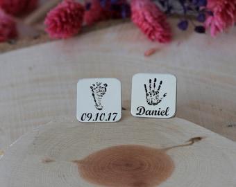 Personalized Finger&Foot Print Cufflink,FingerPrint Cufflink,Newborn Cufflink,FootPrint Cufflink,Dad,Mom Cufflink,Silver,Gold,Rose,Gift