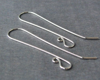 Super Long Sterling Silver Earwires, Handmade Earring Findings, Slender French