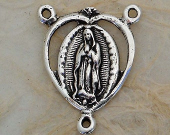 Our Lady of Guadalupe - Rosary Center - Bronze or Sterling Silver - Made in the USA (R-488)