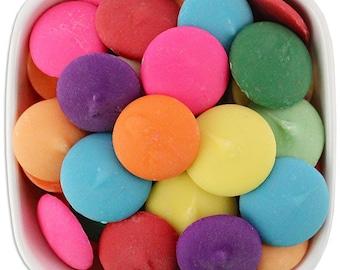 Rainbow 16 oz Merckens Confectionery Coating - Chocolate Melts 16 ounce bag Mixed Assortment 1 lb pound bag Disks