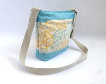 bolso, bolso bandolera, bolso tela, bolsos de tela, bolso verano, tela geometria, verano, bolso acolchado, bolso forrado, azul, juvenil
