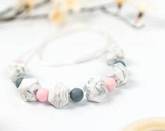 Marble Silicone Teething Necklace - Sensory Necklace - Mother's Day Gift Necklace