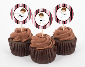 Karate Cupcake Toppers, Karate Birthday Party, Boys Birthday Party, Tae Kwan Do Party, Cupcake Toppers, Instant