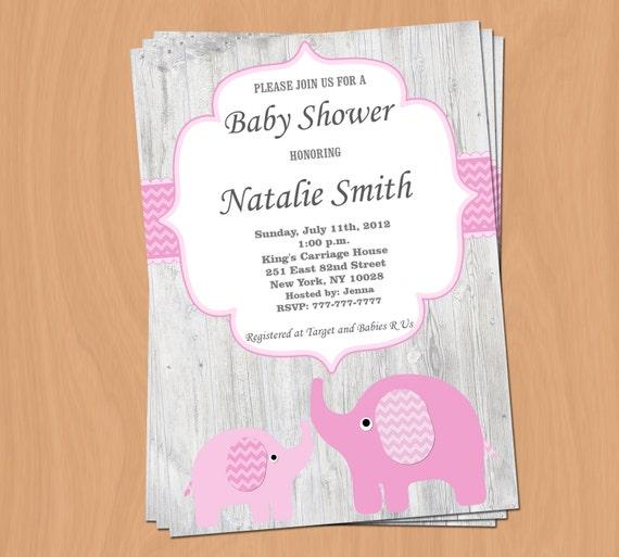 Mädchen Baby Dusche Einladung Elefant Baby Shower Einladung