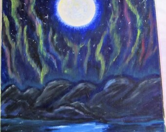 Aurora's Moon ... Northern lights and glowing moonlight, original canvas painting by myself,
