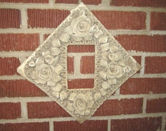 Antique Victorian Rare Parian Ware Elaborate Floral Wall Hanging Picture Frame as found