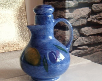 Blue Hand Painted Porcelain Pitcher Lemons & Olives by St. Michael