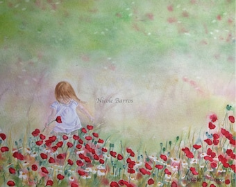 Field of flowers Painting, PRINT, Home Decor, Wall art, Watercolour painting, Floral art painting, Watercolor print, Artwork, FREE Shipping