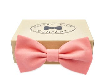 Handmade Bow Tie in Coral - Adult & Junior sizes available