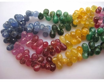 Multi Gemstone, Emerald Beads, Sapphire Beads, Ruby Beads,  Faceted Tear Drop Bead, 4x6mm To 3x4mm, 110 Pieces Approx, 7.5 Inch Half Strand