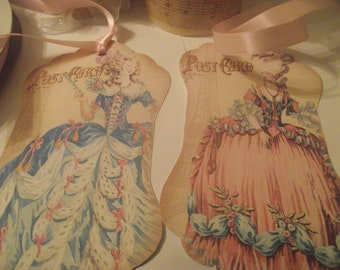 Pastel Pink, Pastel Blue, Ppstel Scallop Vintage Gift Tags  Marie Antoinette  Adorn  With Pink Tie