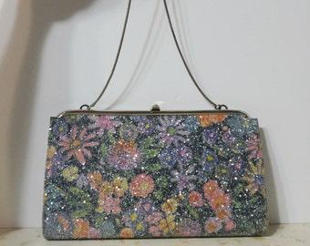 Vintage Floral Glitter Clutch Purse Retro Rockabilly Pin Up Clutch Purse