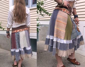 Eco short boho Skirt, S/M, patchwork skirt, festival skirt, jersey skirt, natural skirt,hippy skirt, jersey skirt, earthy mix skirt Zasra