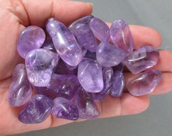 3 Premium Amethyst Crystals Polished - February Birthstone, Protection Amulet, Healing Crystals & Stones, Reiki Healing, Chakra Stones T507