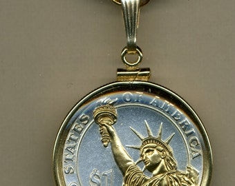 Necklace - 2-Toned Gold on Silver Statue of Liberty Dollar Necklace