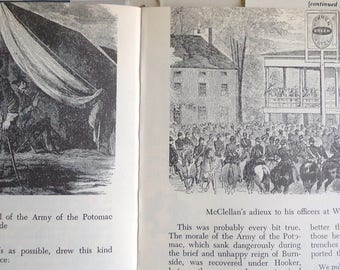 Vintage Civil War Book Pictures, illustrated history book, rare illustrations Manassas, Gettysburg, Warrenton, Mason Dixon