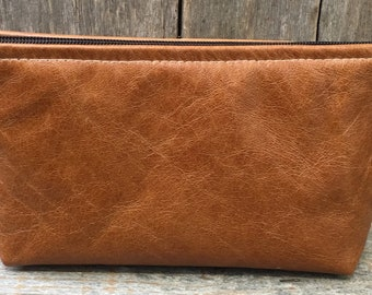 Leather cosmetic bag,Leather makeup bag,Leather clutch,tan leather case,Leather toiletries case,Leather pouch,Leather pencil case
