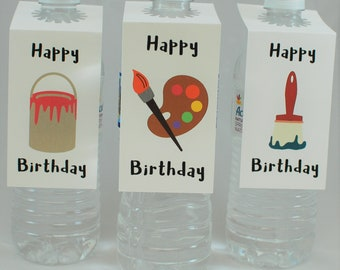 Art Birthday Party Water Bottle Labels - Artist Party Decorations - Painting Party Water Bottle Tags - Art Party Decoration (set of 12)