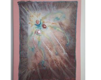 """Felted Fiber Art, Wool Art, with Banded Carnelian Agate, 18"""" X24"""" OOAK"""