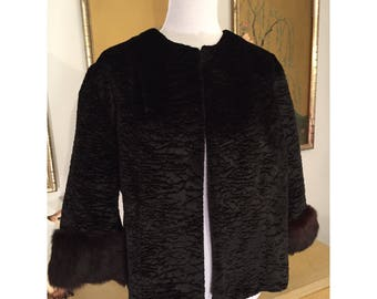 1960s Vintage Cropped Faux Persian Lamb Coat with Real Mink Trim  -- Cozy and Glamorous!