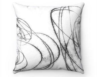 Black & White Decorative Throw Pillows, Bedroom Decor, Couch Cushions, Accent Pillows, Pillow Covers 18x18, Abstract Pillow, Wabi Sabi