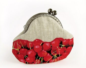 Red Cherries Coin Purse, Fruit Berries, Linen Pouch with Kisslock
