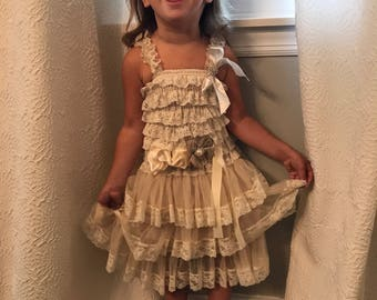 Champagne burlap lace flower girl dress