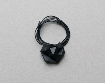 Black minimalist geometric triangle necklace. Natural Cotton chain. minimal fox cat animal shape
