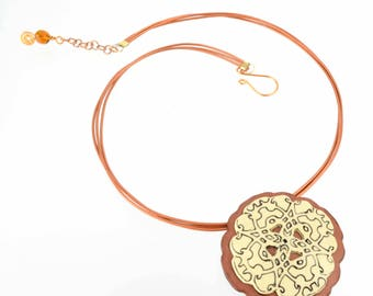 Cutout Etched Necklace #2 - Copper Leather