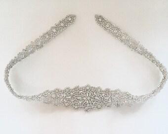 Crystal Rhinestone Belt with Clasp- Bridal Belt - Bridal Sash - Embellished Belt - All The Way Around Bridal Belt with Clasp - EYM B006-M