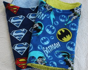 Superman Baby Boy Burp Cloth and Batman Baby Boy Burp Cloth Set of 2 with Batman and Superman Flannel and a Terry Cloth Lining