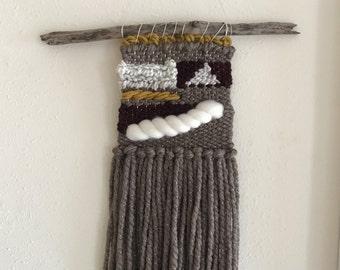 handmade woven wall hanging tapestry weaving, brown white cream gold small medium > istanbul