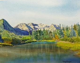 Alaska Adventure, Landscape Original Watercolor Painting