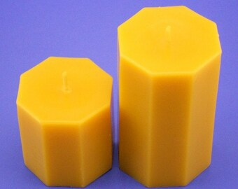 Pair of Octagon Beeswax Candles, 3.2 x 3 and 3.2 x 5, Organic Bees Wax Candle Pillars, Pure Beeswax Candles, 3 inch candle, 5 inch candle