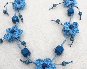 Statement Necklace Beaded Necklace Crochet Blue Flower Necklace Knitted Necklace Long Boho Necklace Bohemian Jewellery Crochet Jewellery