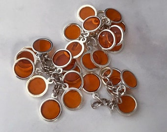 Orange Focal, Epoxy and Silver-Plated Brass, Round Cluster