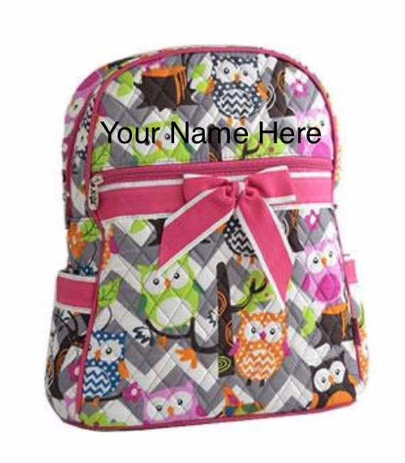 Backpack Personalized Grey Chevron Quilted with Owls and Hot Pink Ribbon Accent