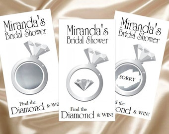 Bridal Shower Game Scratch Off Cards (10 ct) Silver Diamond Ring