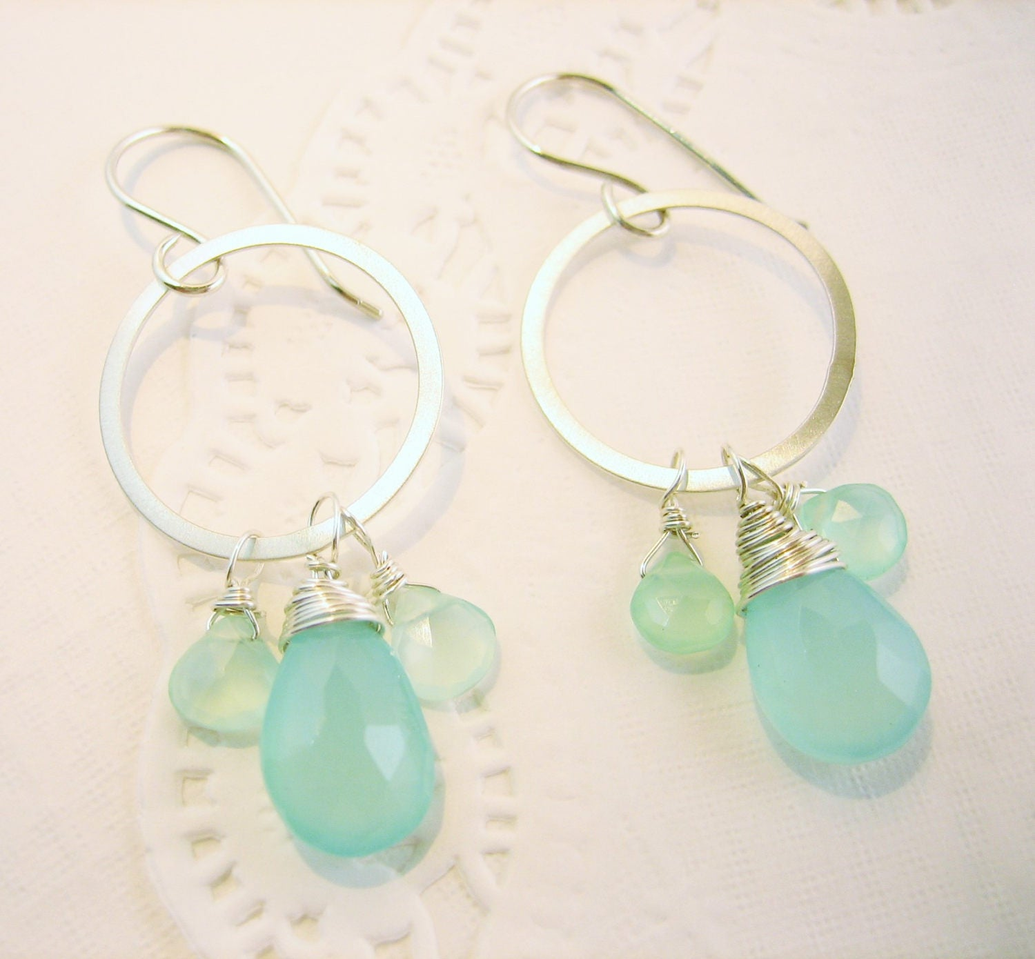 Boho - Gypsy hammered silver earrings with bright blue  green chalcedony, dangle open circle artisan made, misty metal earrings