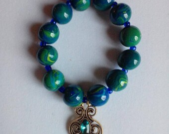 Embellished Stretch Bracelet with Jeweled Charm - Item 2018-107