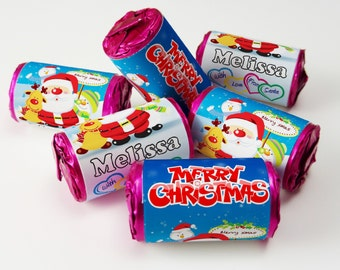Love Heart Sweets,Christmas, Xmas, Favours ( Select from 10 to 100 Rolls) - V4