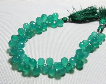 Green Onyx - Faceted - Tear Drop Shape - Size 7x10 - 8x12 mm - Approx 8 Inches Long