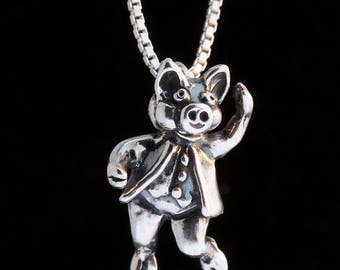 Three Little Pigs Charm Silver Stepping Out Pig Charm Silver Pig Charm Pendant Animal Charm Pig Jewelry Pig Silver Pig Charm Silver Necklace