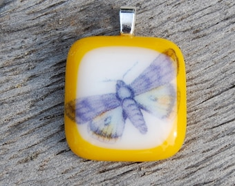 SALE Butterfly Pendant, Fused Glass Pendant, Handmade Jewelry, Stocking Stuffer