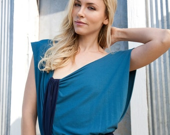 Pretty Birdie's Bamboo Basic Dusty Blue and Navy Mini Dress (choose your own custom color combination)