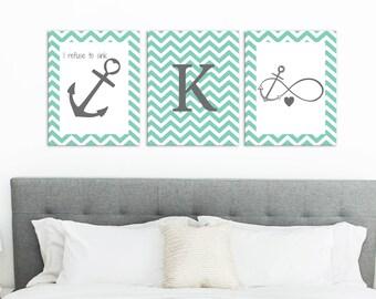 I refuse to sink Teen Room Decor, Girls Room Decor, Anchor Wall Decor, Infinity Anchor Print