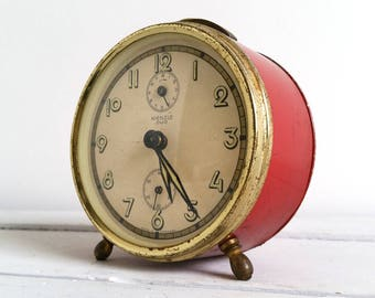 Vintage alarm clock red 'Kienzle' duo
