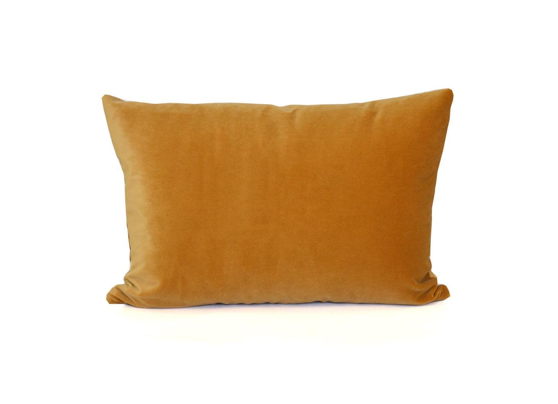 Mustard Yellow Velvet Pillow Decorative Cotton Velvet Throw