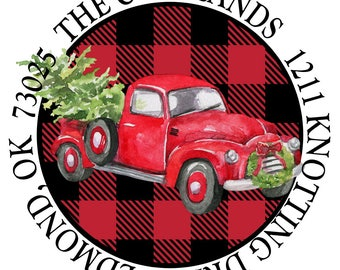Christmas Truck, Buffalo Check Red and Black, Lumberjack Check,  Christmas Preppy Round Return Address Labels, Stickers, Christmas Stickers