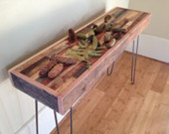 SALE - ships immediately! - Barnwood Mosaic Console with Eames Style Hairpin Legs